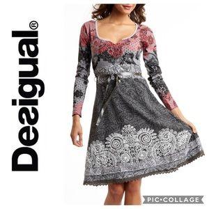 Desigual Floral Gray Fit & Flare Dress Sz Small